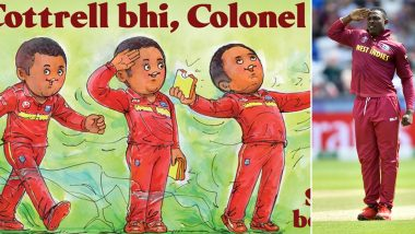 Amul Release Special Caricature on Sheldon Cottrell's Unique Wicket-Taking Celebration (See Post)